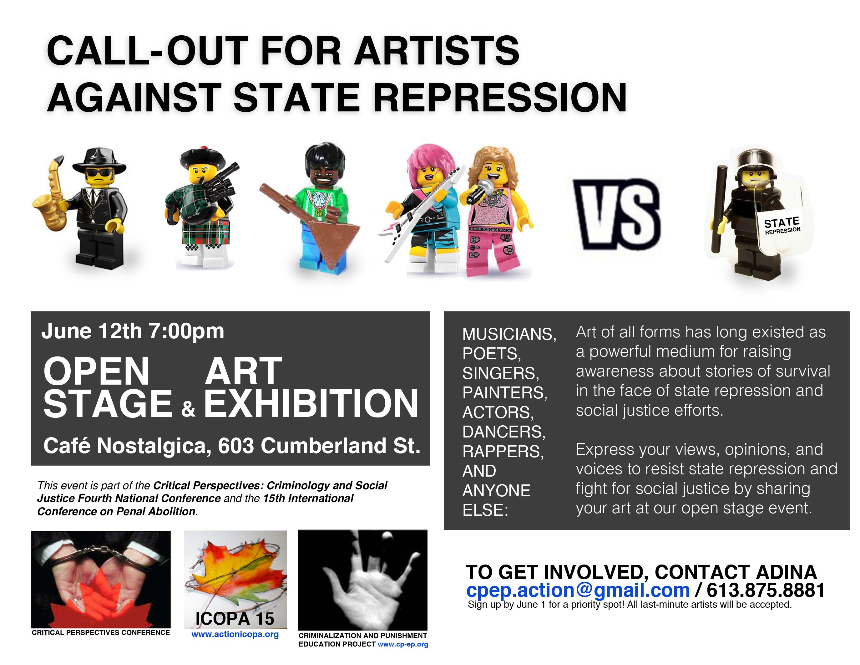Poster for Call-Out For Artists Against State Repression