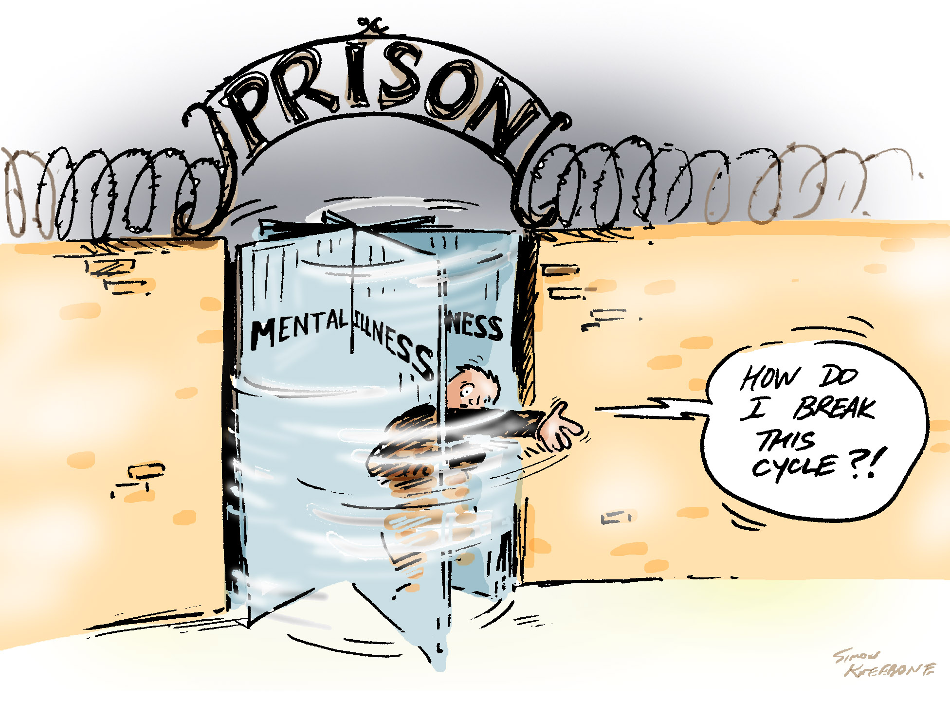 cartoon of a man getting stuck in a prisons revolving door