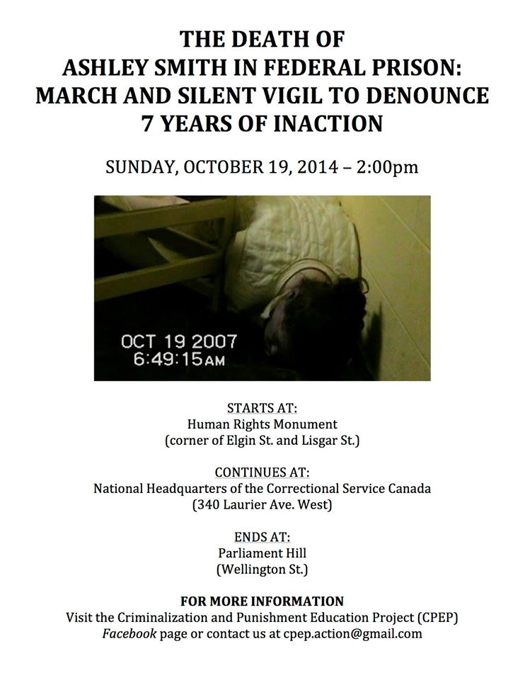 Poster for the vigil to denounce 7 years of inaction on the death of Ashley Smith