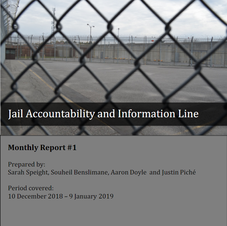 Cover of the JAIL Hotline's first Monthly report