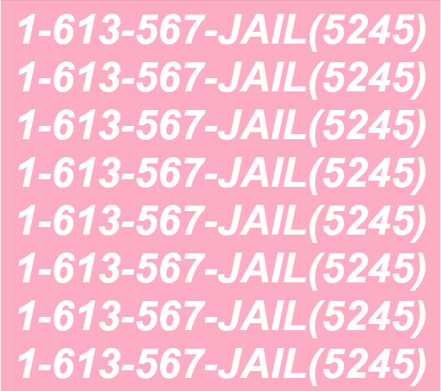 poster art for the JAIL hotline mimicking the song Hotline Bling by Drake