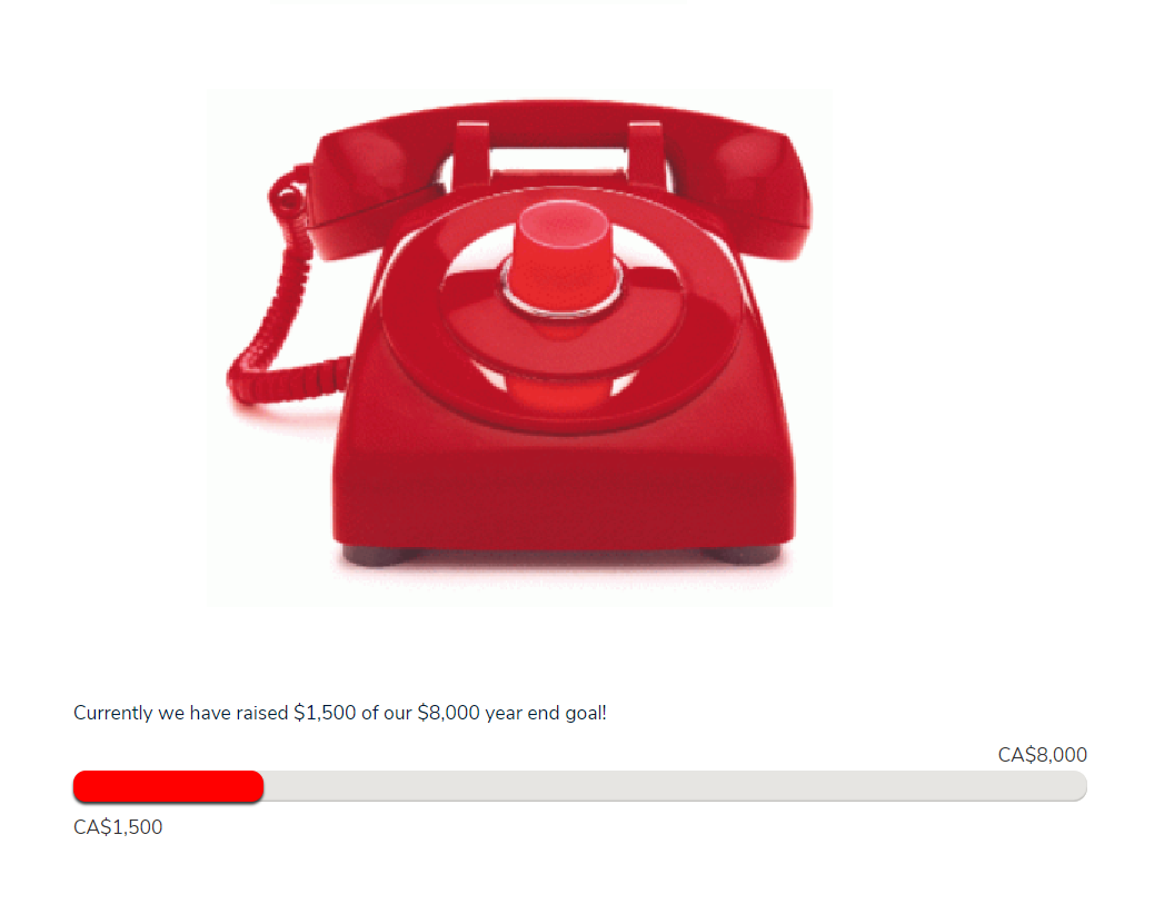 red phone with a donation meter under it that is not full