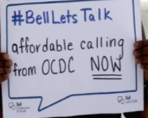 protest poster saying Bell Lets talk affordable calling from OCDC Now!