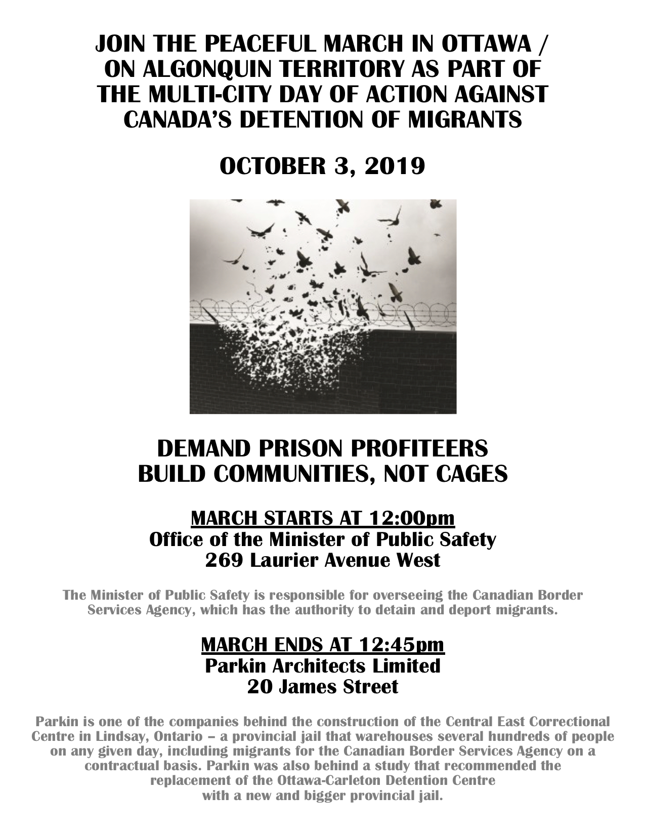 Poster for a peacful march to demand the end of profiting from prisons