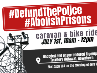 defund and abolish prisons caravan and bike ride poster