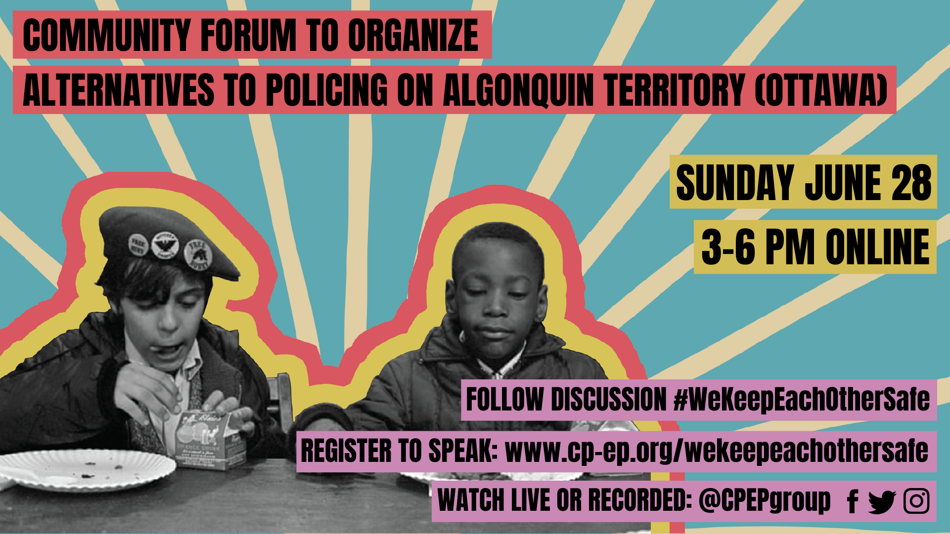 alternatives to policing in Ottawa public forum poster featuring kids from the black panther breakfast program