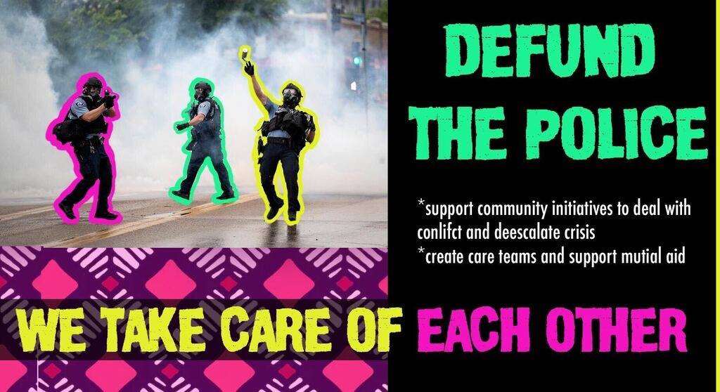 poster for the defund the police email zap tool featuring cops throwing tear gas canisters