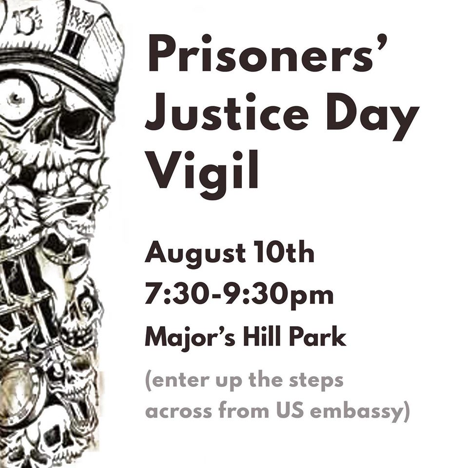 prisoners justice day 2020 poster at majors hill park
