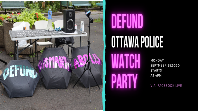 watch party banner with abolish defund printed on it